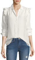 Frame Button-Front Ruffled Long-Sleeve Silk Shirt
