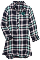 Trixxi Sequin Heart Plaid Shirtdress (Big Girls)
