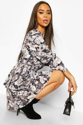 boohoo Satin Floral Tiered Puff Sleeve Skater Dress