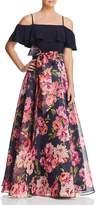 Eliza J Cold-Shoulder Floral Gown