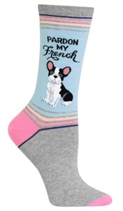 Hot Sox Women's Frenchie Fashion Crew Socks