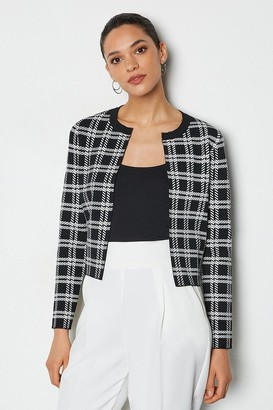 Karen Millen Bold Check Knit Cardigan