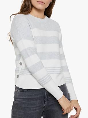 Mint Velvet Striped Cotton Jumper, Grey/Ivory