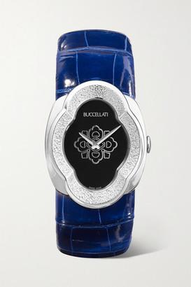 Buccellati Opera 28mm 18-karat White Gold And Alligator Watch - Blue