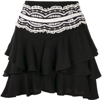 Wandering Lace Embroidered Layered Skirt