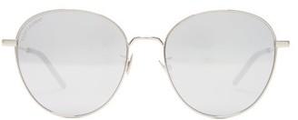 Saint Laurent Mirrored Round Metal Sunglasses - Silver
