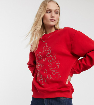 Monki embroidered Christmas tree sweat in red