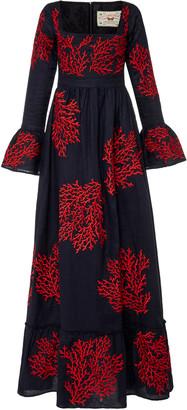 Agua Bendita Curuba Coralina Embroidered Linen Maxi Dress