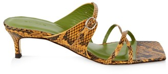 BY FAR Candy Square-Toe Snakeskin-Embossed Leather Mules
