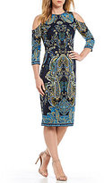 London Times Cold-Shoulder Printed Scuba Sheath Dress