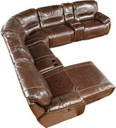 Cindy Crawford Home San Salento Walnut Leather Right 7 Pc Power Reclining Sectional