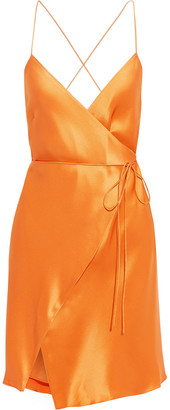Mason by Michelle Mason Open-back Silk-charmeuse Mini Wrap Dress