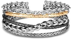 John Hardy Sterling Silver & 18K Yellow Gold Chain Link Flex Cuff Bracelet