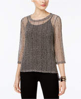 INC International Concepts Sequined Open-Knit Illusion Top, Only at Macy's