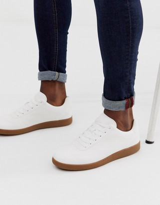 Asos Design DESIGN lace up trainers in white faux suede with gum sole