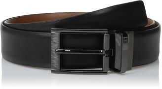 Perry Ellis Men's Portfolio Feather Edge Etched Buckle Soft Touch Belt