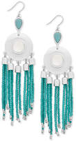 Lucky Brand Silver-Tone Beaded Fringe Drop Earrings, Created for Macy's