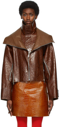 Givenchy Brown Croc Leather Cropped Windbreaker Jacket