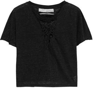 IRO Seemly Cropped Distressed Slub Linen-jersey T-shirt