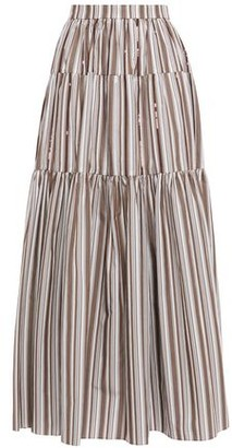 Brunello Cucinelli Gathered Sequin-embellished Striped Cotton-poplin Maxi Skirt