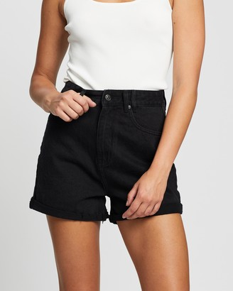 Atmos & Here Atmos&Here - Women's Black Denim - Angela Recycled Cotton Blend Denim Shorts - Size 6 at The Iconic