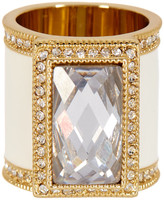 Ariella Collection Enamel & Crystal Cocktail Ring - Size 7