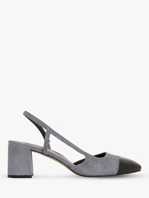 Dune Croft Suede Pointed Toe Court Shoes, Grey
