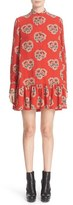 Alexander McQueen Women's Poppy Print Ruffle Hem Georgette Dress