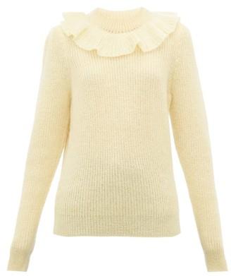 Miu Miu Ruffled Mohair-blend Sweater - Womens - Light Yellow