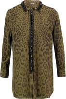 Roberto Cavalli Crystal-Embellished Printed Silk Shirt