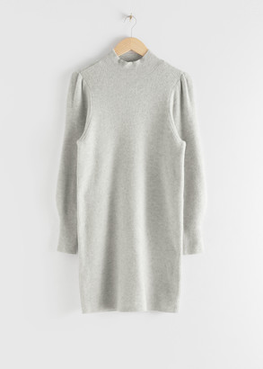 And other stories Mock Neck Ribbed Mini Dress