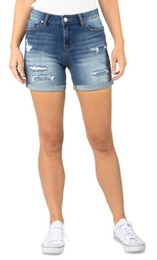 Indigo Rein Juniors' Destructed Denim Midi Shorts