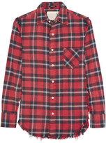 R 13 Inside Out Plaid Cotton-flannel Shirt - Tomato red