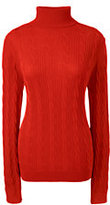 Classic Women's Cable Turtleneck Sweater-Bold Berry