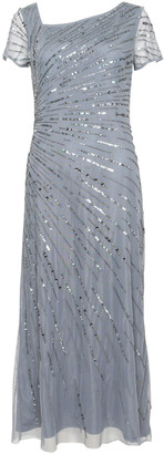 Adrianna Papell Beaded Gown With Short Sleeves