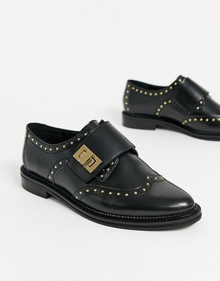 Asos DESIGN Marvel leather studded monk flat shoes in black