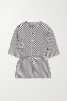 Palmer Harding Palmer//Harding palmer//harding - Annie Belted Striped Cotton-poplin Shirt - Black