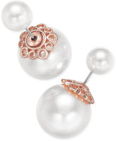 Charter Club Rose Gold-Tone Imitation Pearl Reversible Front and Back Earrings, Only at Macy's