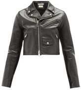 Bottega Veneta Cropped Leather Biker Jacket - Womens - Black