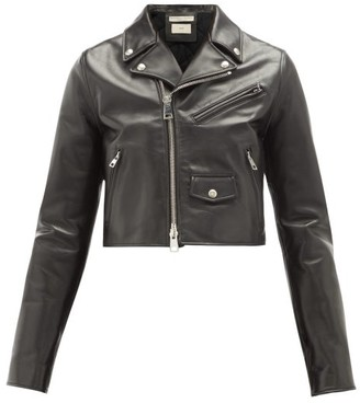 Bottega Veneta Cropped Leather Biker Jacket - Black