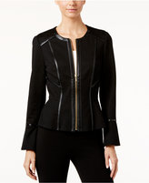 INC International Concepts Faux-Leather-Trim Ponte Jacket, Only at Macy's