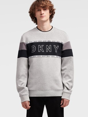 DKNY Men's Colorblock Taped Logo Sweater - Hthr Grey - Size XXL