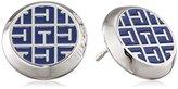 Tommy Hilfiger Women's Stainless-Steel and Blue Enamel Jacquard Patterned Earrings
