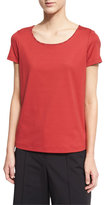 Lafayette 148 New York Chain-Trim Scoop-Neck Tee, Red Rock