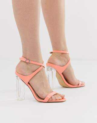clear Co Wren bright heeled sandals-Orange
