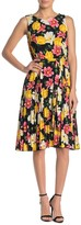 T Tahari Floral Printed Pleated Belted Dress