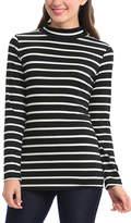 Magic Fit Black & White Stripe Mock Neck Top
