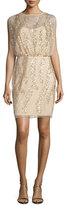 Aidan Mattox Sleeveless Embellished Tulle Cocktail Dress, Light Gold