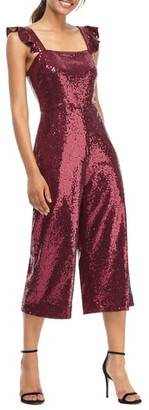 Gal Meets Glam Casey Sequin Ruffle Strap Jumpsuit