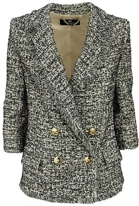 Elisabetta Franchi Double-breasted tweed jacket with 3/4 sleeves